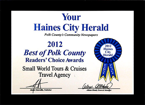 Small World Tours & Cruises - Polk County Harold award